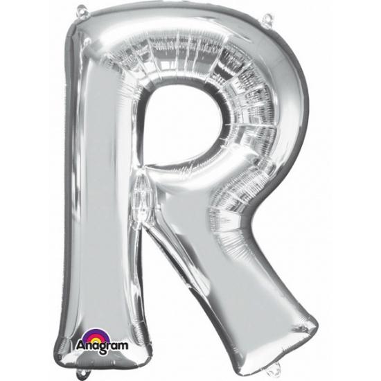 Naam versiering zilveren letter ballon r
