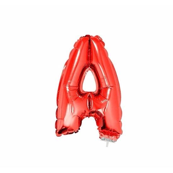 Rode letter ballon a op stokje 41 cm