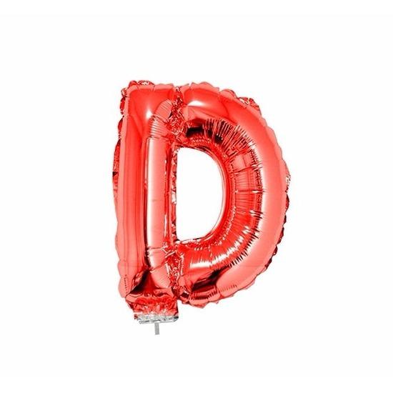 Rode letter ballonballon d op stokje 41 cm