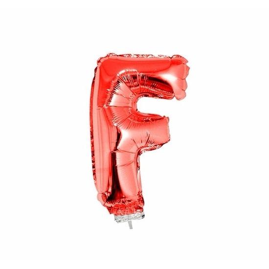 Rode letter ballonballon f op stokje 41 cm