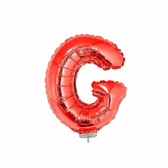 Rode letter ballonballon g op stokje 41 cm