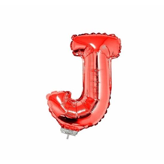 Rode letter ballonballon j op stokje 41 cm