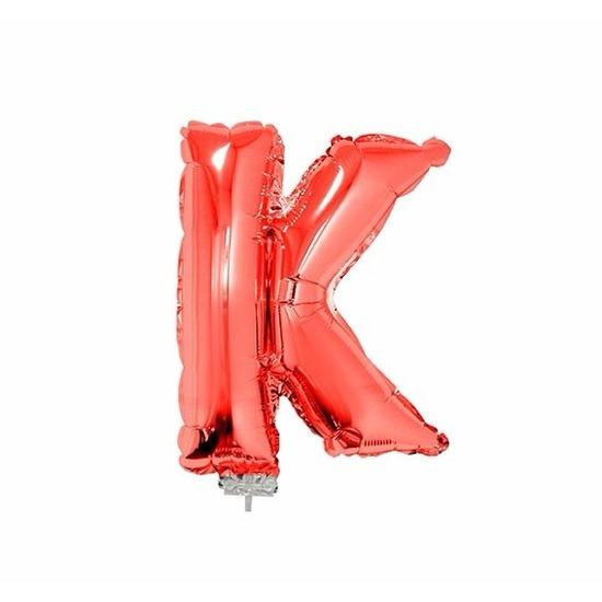 Rode letter ballonballon k op stokje 41 cm
