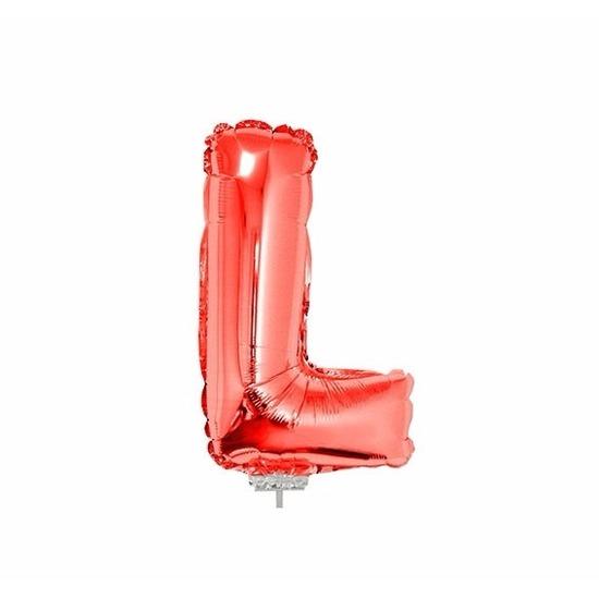 Rode letter ballonballon l op stokje 41 cm