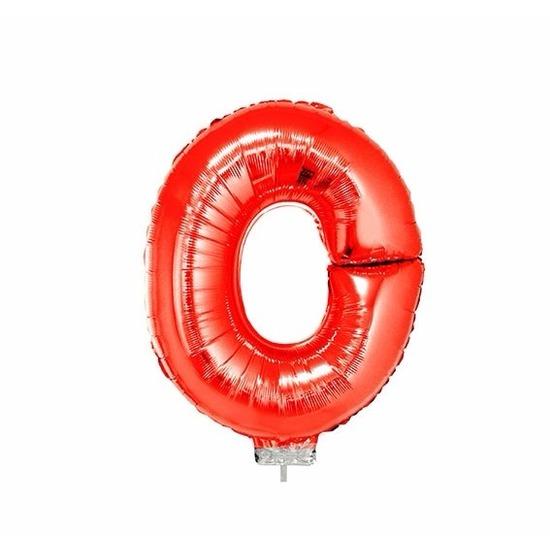 Rode letter ballonballon o op stokje 41 cm