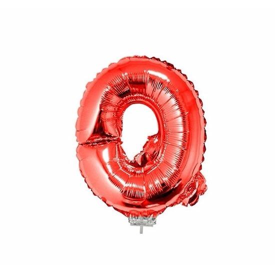 Rode letter ballonballon q op stokje 41 cm