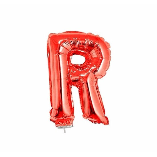 Rode letter ballonballon r op stokje 41 cm