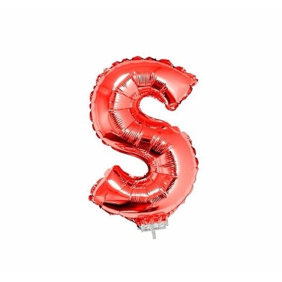 Rode letter ballonballon s op stokje 41 cm
