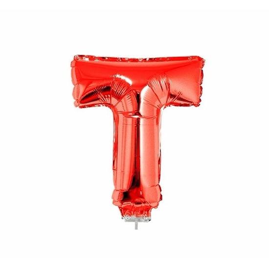 Rode letter ballonballon t op stokje 41 cm
